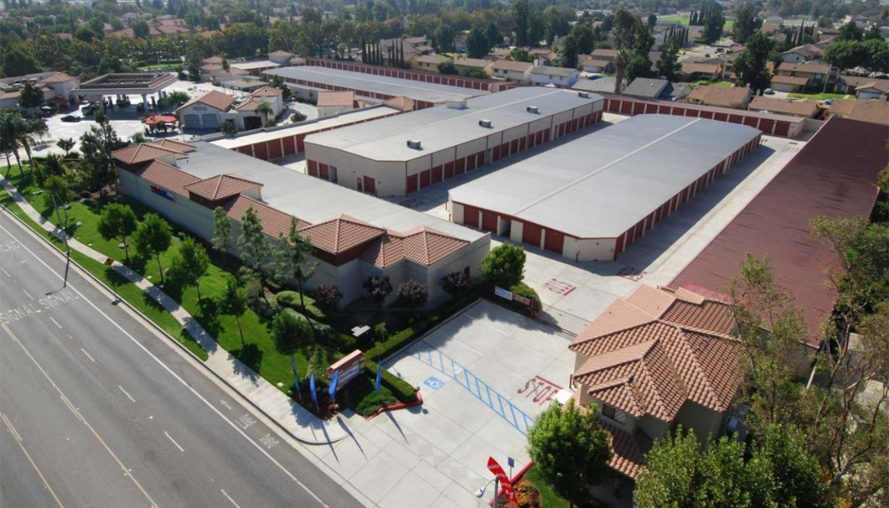 Price Self Storage Rancho Cucamonga Arrow Route aerial view of the facility