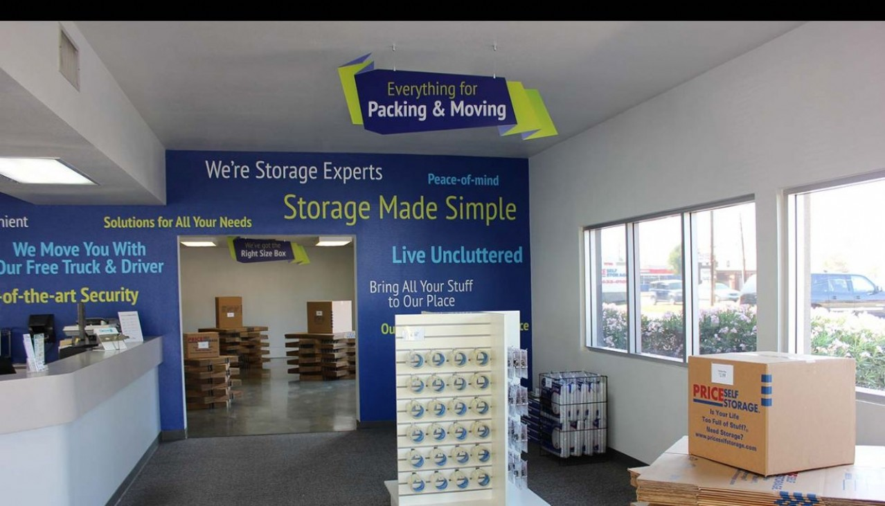 Price Self Storage Azusa rental office with packing and moving supplies & merchandise for sale