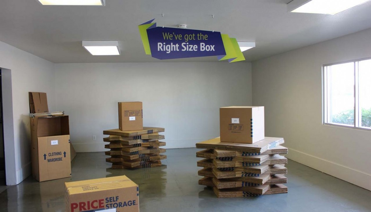 Price Self Storage Azusa variety of moving boxes for sale display
