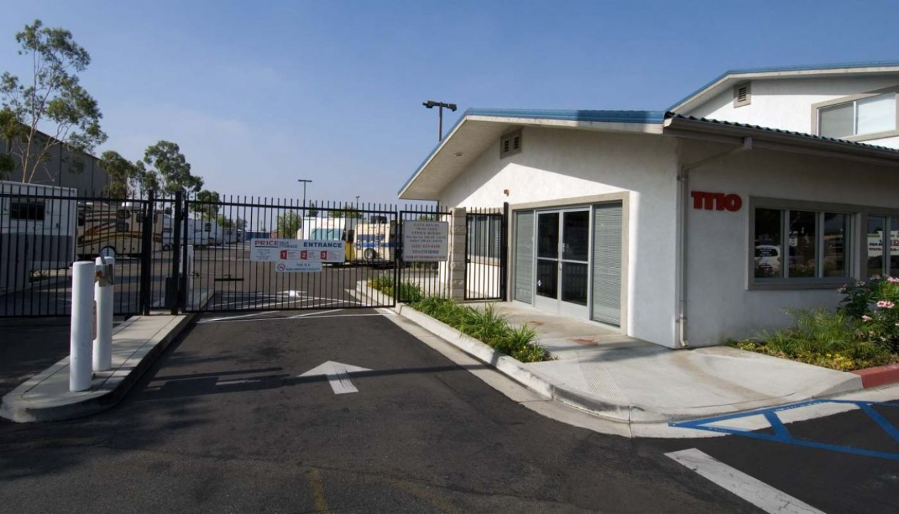 Entrance gate and rental office at the Azusa facility