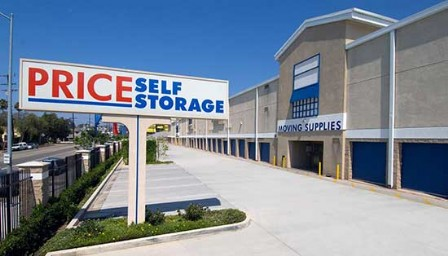 Price Self Storage National Blvd Monument Sign, Parking Lot And Drive Up Storage  Units