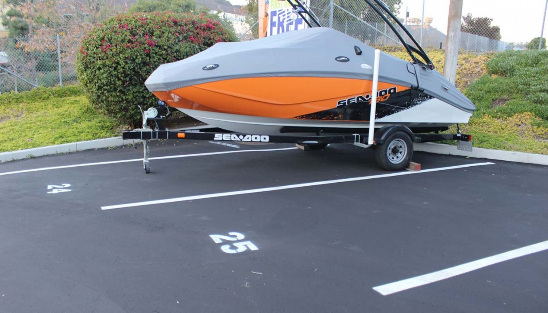Boat parked in vehicle storage space
