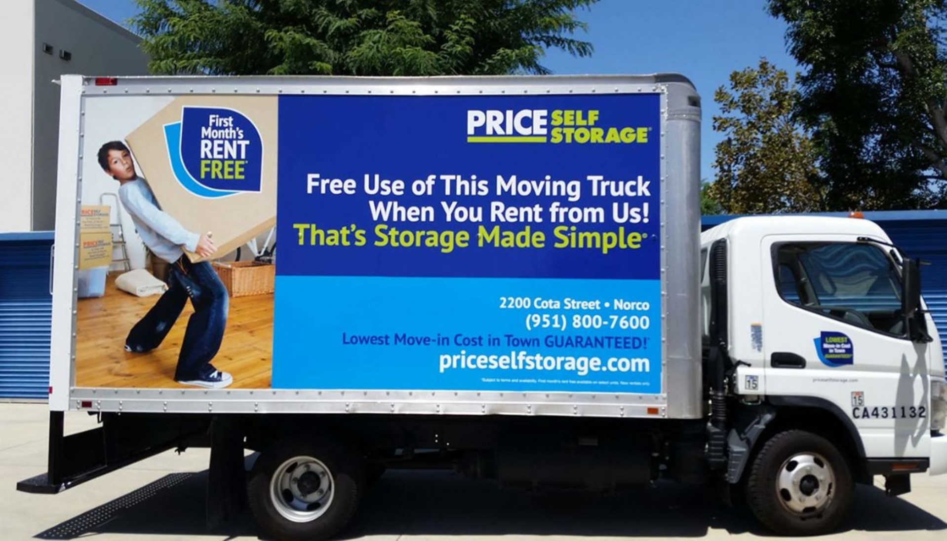 14 ft. box style moving truck with Price Self Storage graphics