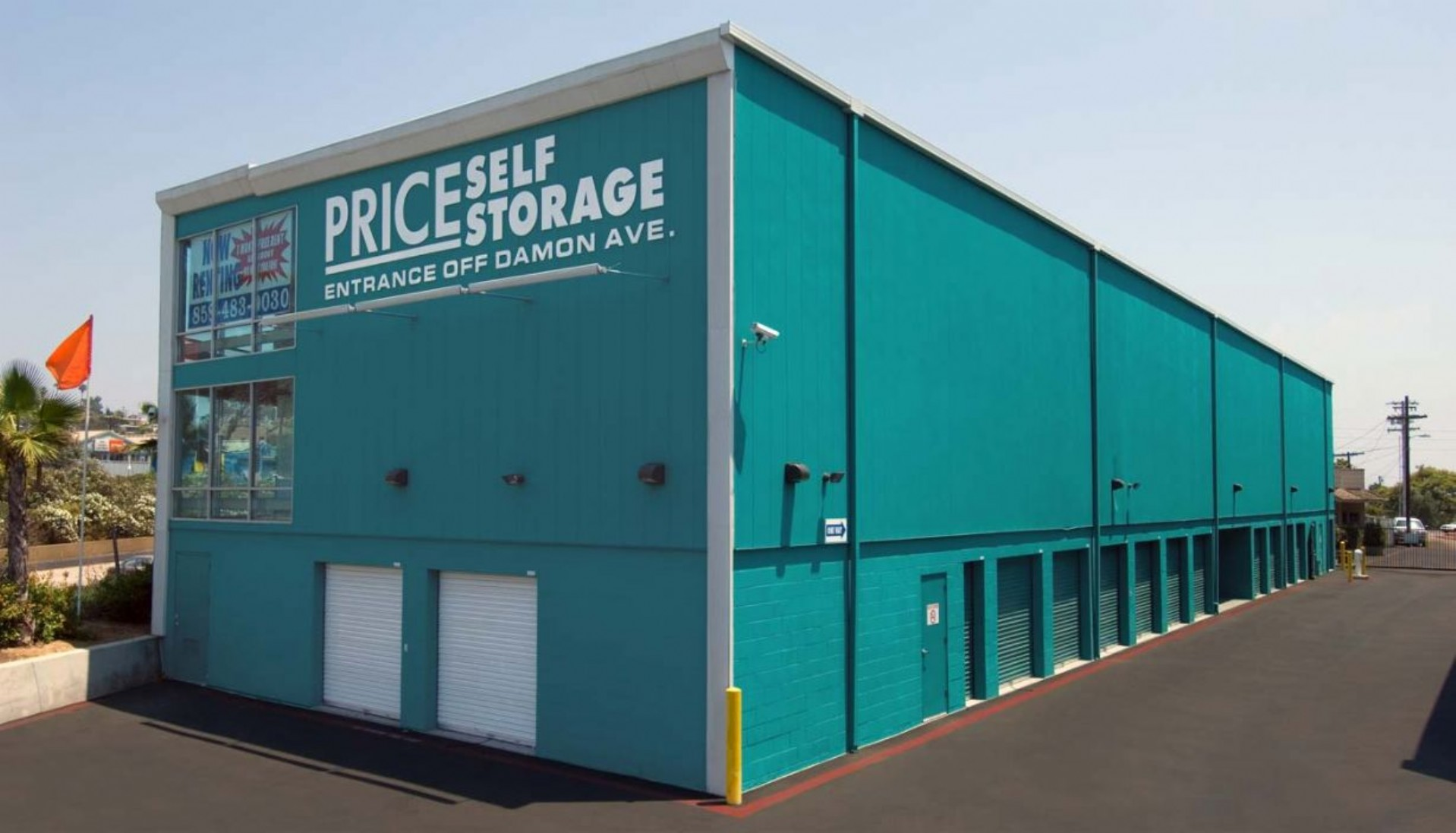 Price Self Storage Pacific Beach three story building with ground floor drive up units and two floors of interior elevator access storage units