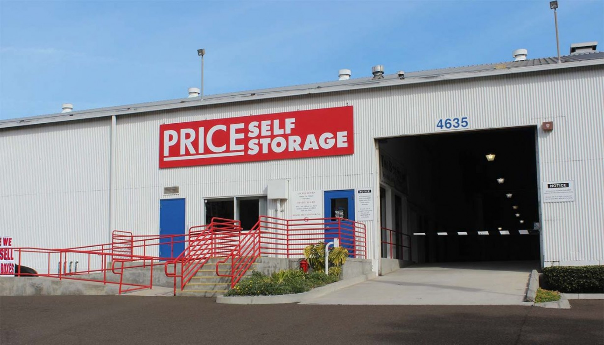 Price Self Storage Morena Blvd entrance to drive in storage facility