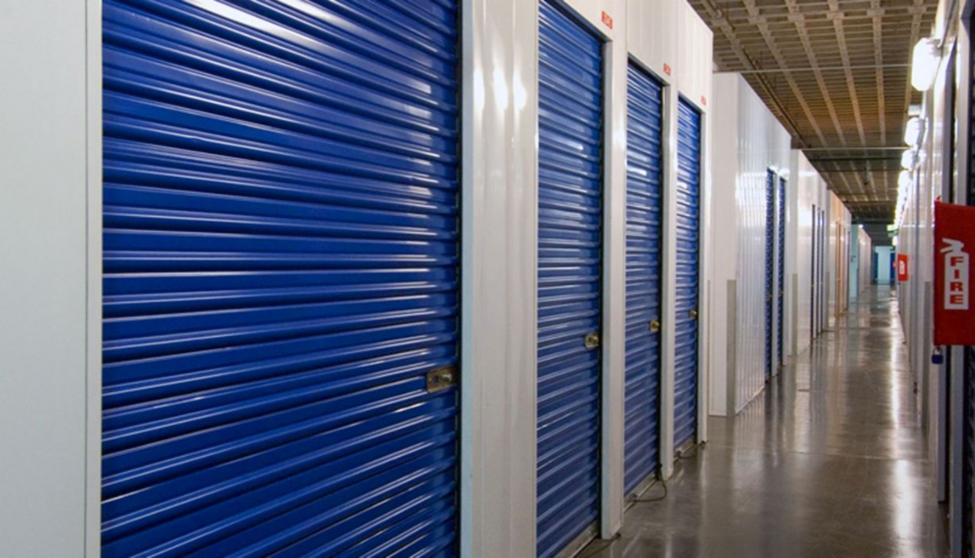 Outside drive up storage units with rollup doors