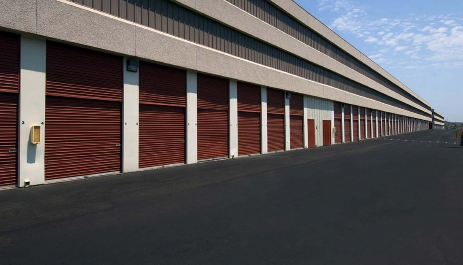 Drive up storage units with rollup doors