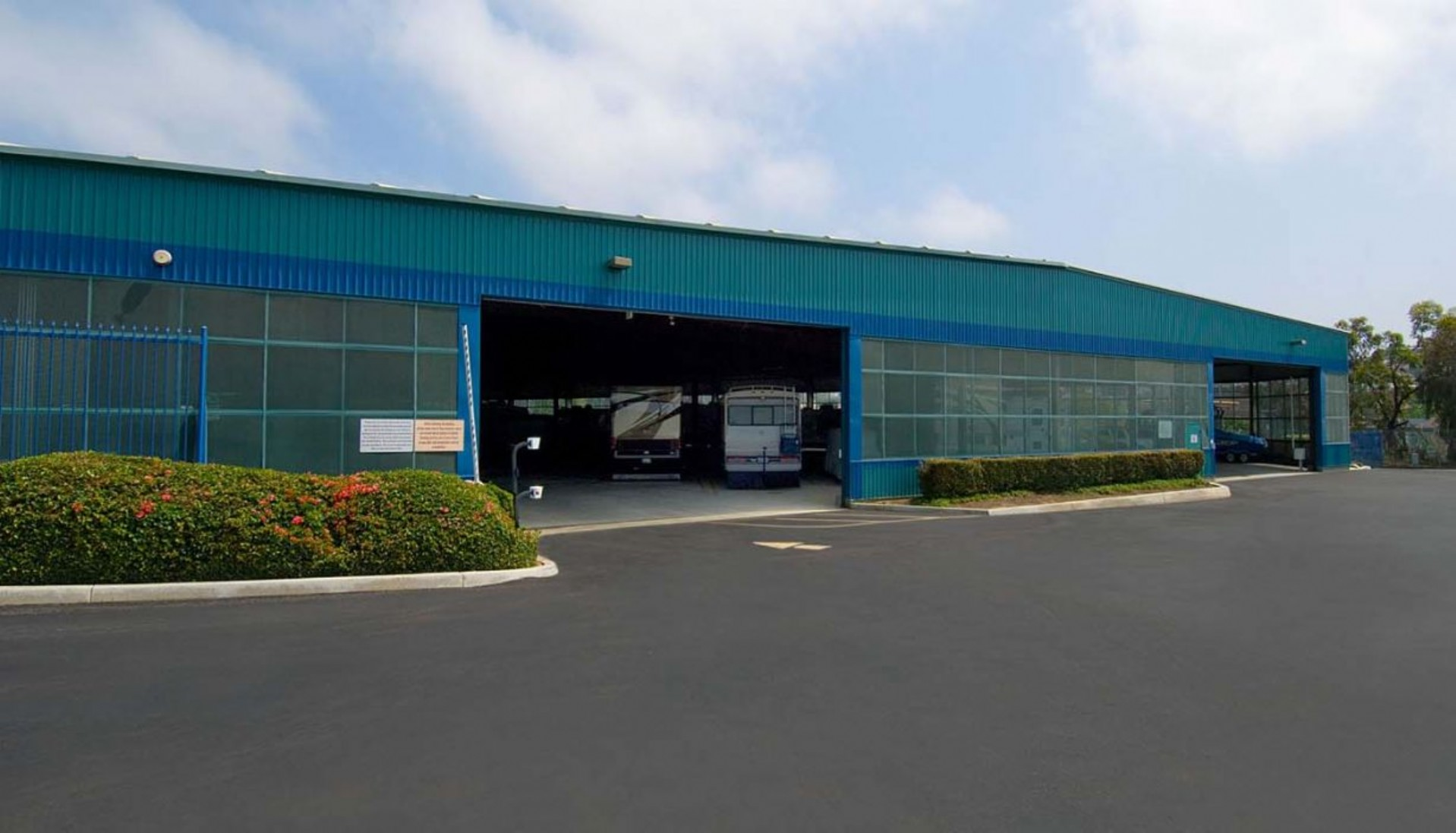 Main entrance to the 100,000 sq.ft. vehicle storage facility