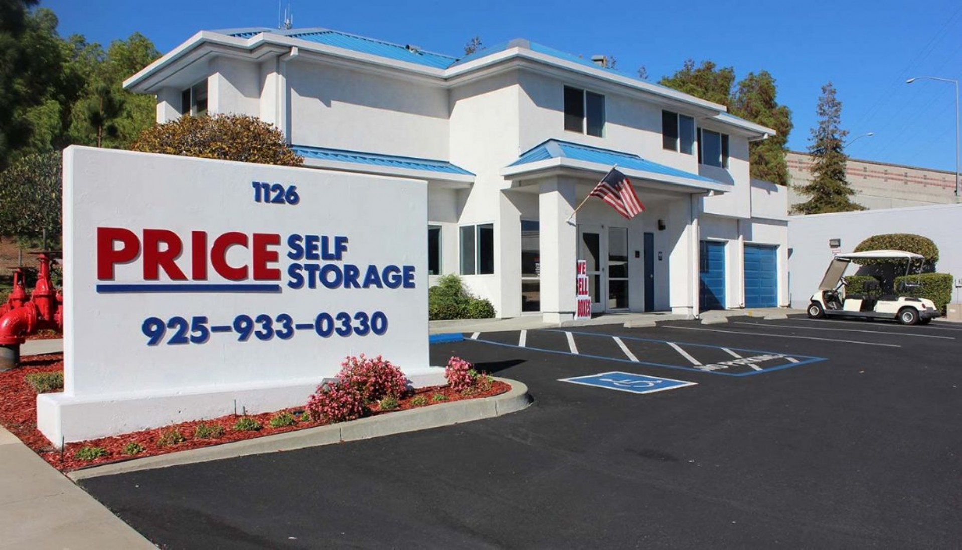 Price Self Storage Walnut Creek Wine Storage - main parking lot, rental office entrance and monument sign