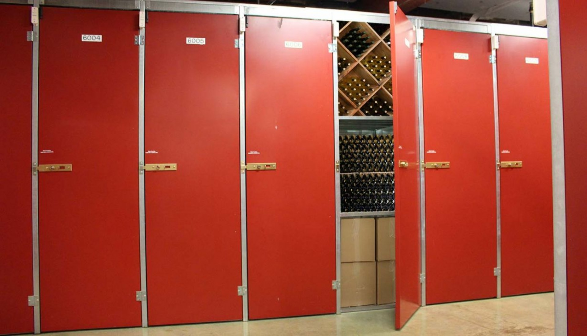 Wall of large 36 case capacity wine storage lockers