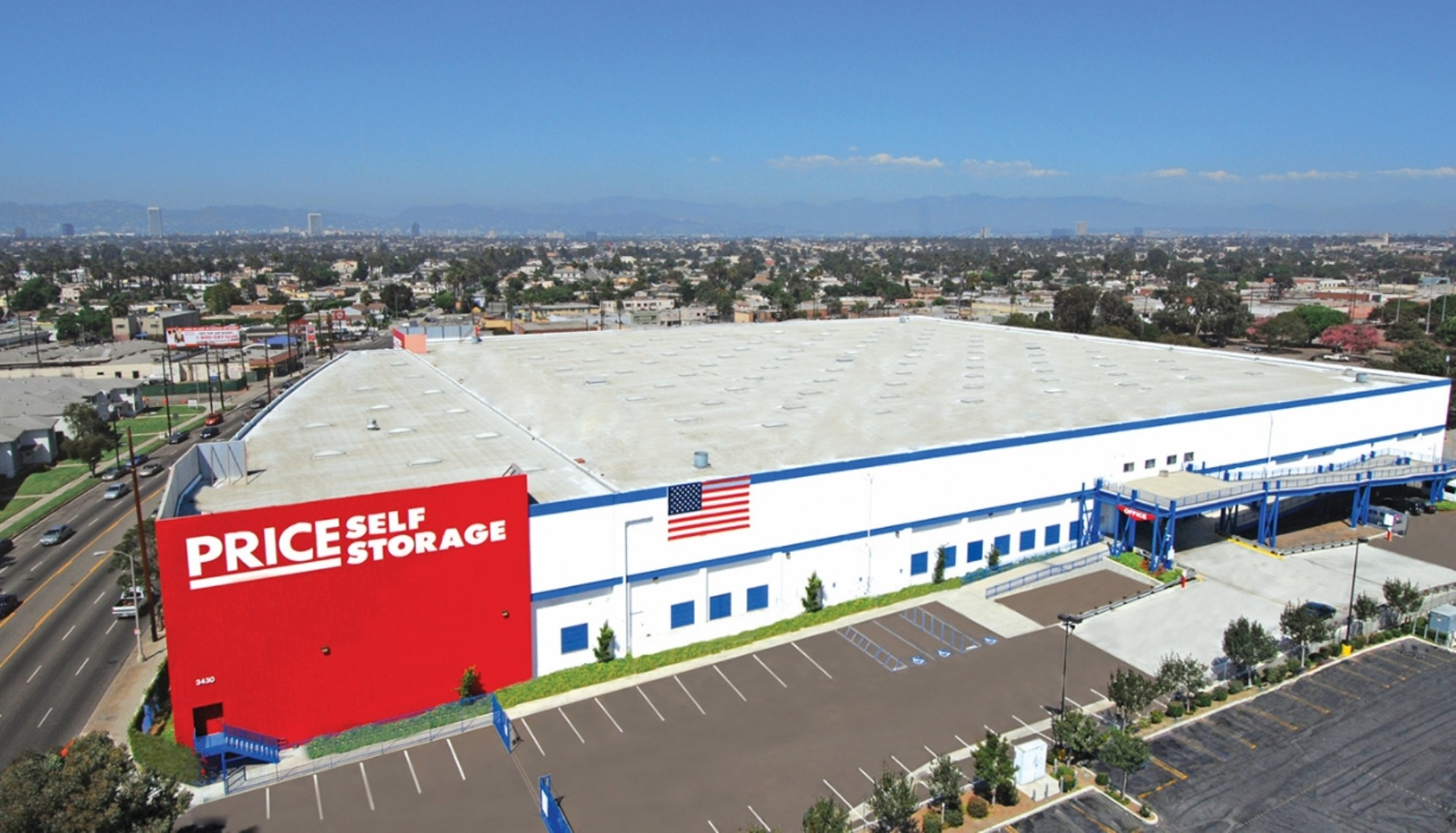Price Self Storage West Los Angeles aerial view of the facility.
