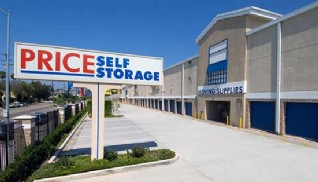 Price Self Storage in Culver City on National Blvd monument sign, parking lot and drive up storage units